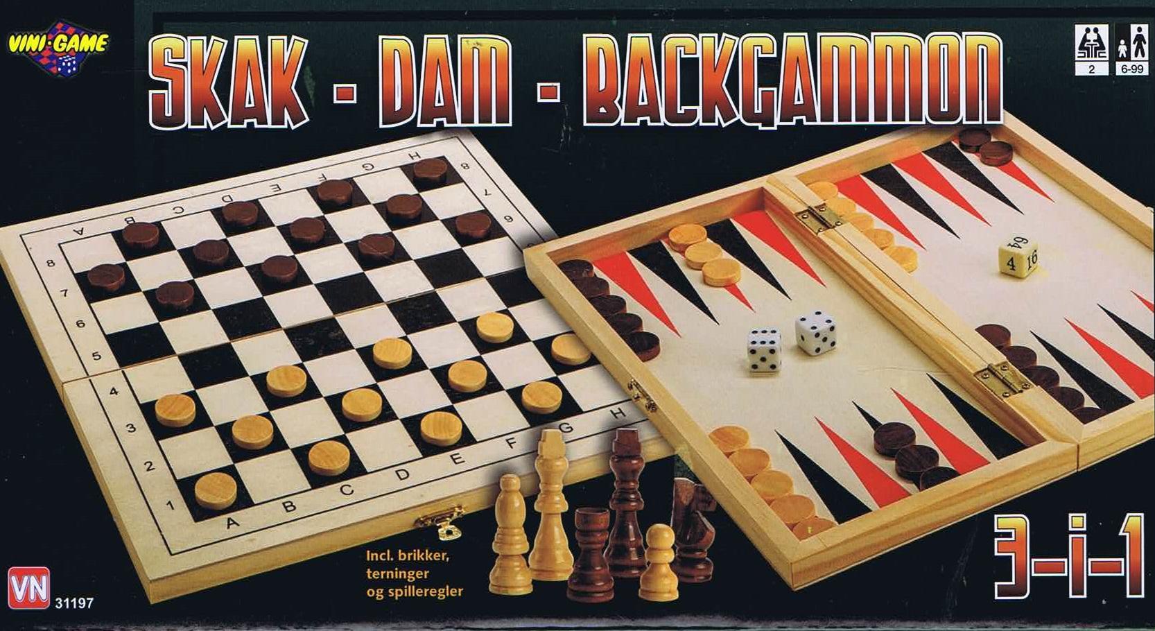 3 i 1, skak - dam - Backgammon