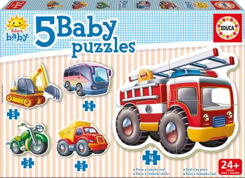 Baby Puzzles - Vehicles, 3-5 brikker (1)